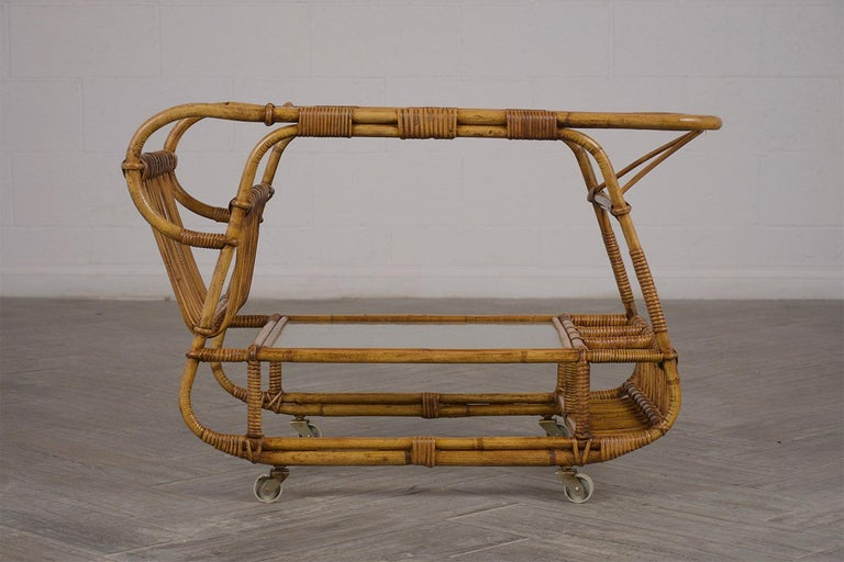 Mid-Century Modern Vintage Rattan Bar Cart For Sale