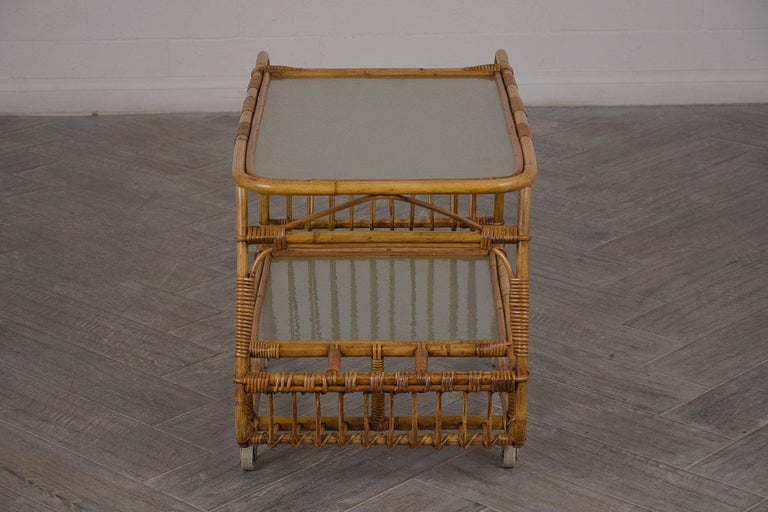 Patinated Vintage Rattan Bar Cart For Sale