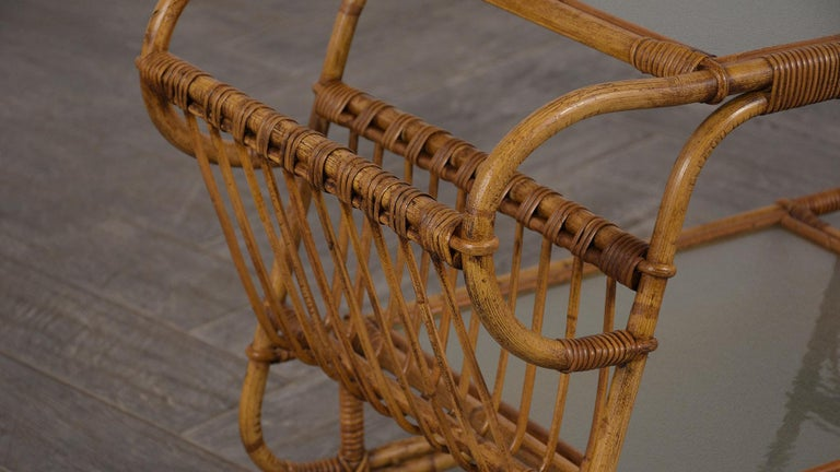 Natural Fiber Vintage Rattan Bar Cart For Sale
