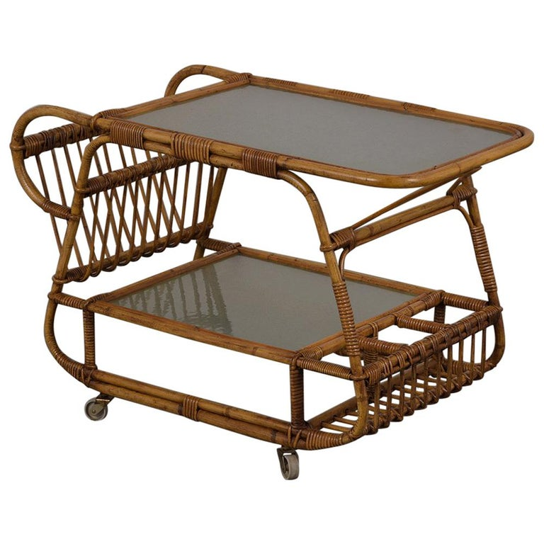 Vintage Rattan Bar Cart For Sale