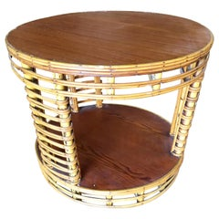 Two-Tier Round Stick Rattan Coffee Table with Mahogany Top