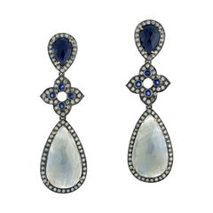 Two-Tier Sapphire Dangle Earring with Diamond Motif in 18k Gold and Silver