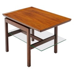 Two Tier Side Table, Walnut and Glass, Rectangular by Jens Risom, Signed