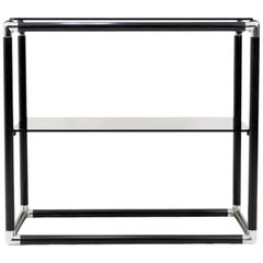 Two-Tier Smoked Glass Console Table, 1970s
