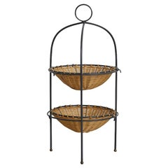 Two-Tier Wicker Iron Fruit Basket