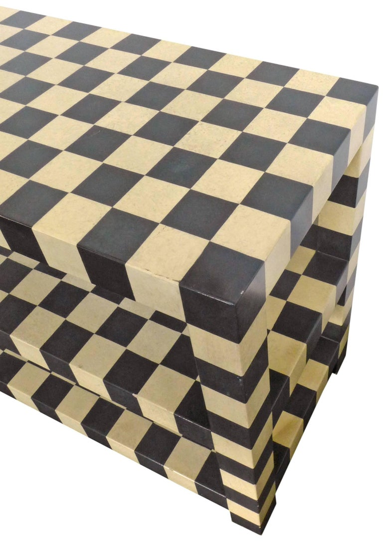 American Two-Tiered Checkerboard Lacquered Table For Sale