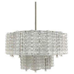 Two Tiered Glass Cube Chandelier by Austrolux, Austria, 1960s