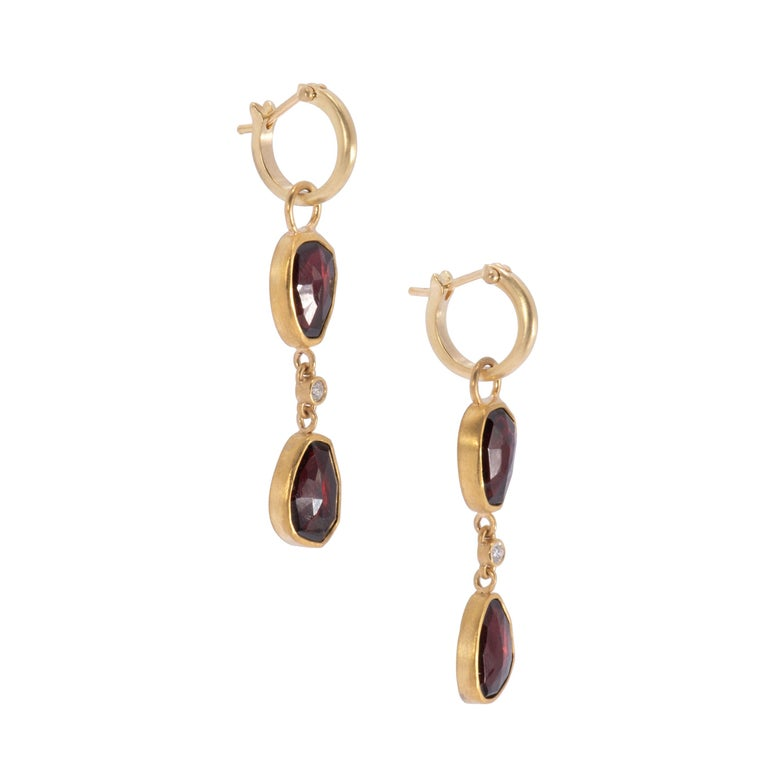 Contemporary Two-Tiered Rose Cut Garnet Drop Hoop Earrings in 22 Karat Gold with Diamonds For Sale