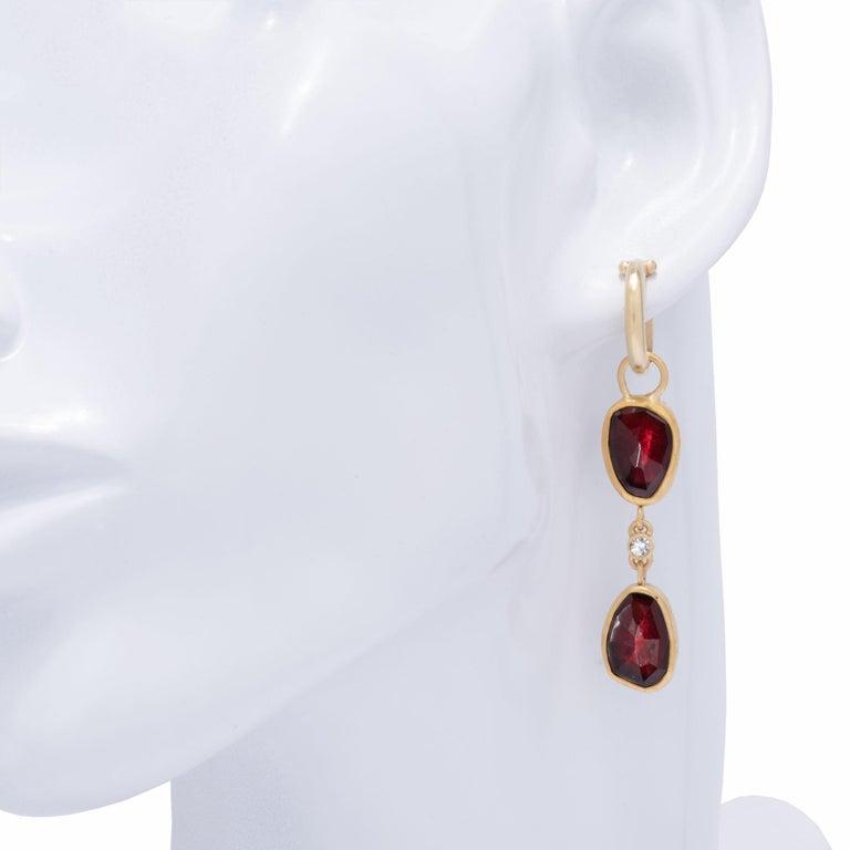 Two-Tiered Rose Cut Garnet Drop Hoop Earrings in 22 Karat Gold with Diamonds In New Condition For Sale In Santa Fe, NM