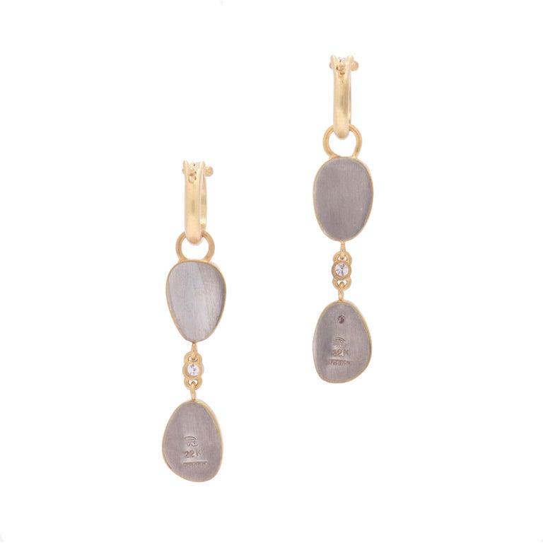 Women's or Men's Two-Tiered Rose Cut Garnet Drop Hoop Earrings in 22 Karat Gold with Diamonds For Sale