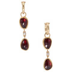 Two-Tiered Rose Cut Garnet Drop Hoop Earrings in 22 Karat Gold with Diamonds