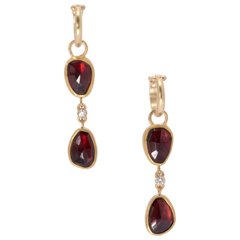 Two-Tiered Rose Cut Garnet Drop Hoop Earrings in 22 Karat Gold with Diamonds For Sale