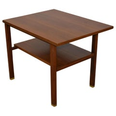 Two-Tiered Walnut Cantilever Top Table Designed by Edward Wormley for Dunbar
