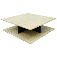 Two Tiers Travertine Coffee Table on Wheels, 1970s
