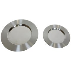Two Timo Sarpaneva Scandinavian Modern Large Stainless Steel Chargers Platters