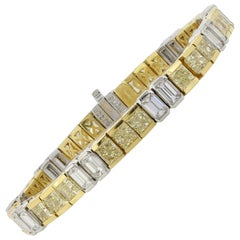 Two-Tone 13.00 Carat Fancy Intense Yellow Radiant Cut Diamond Bracelet