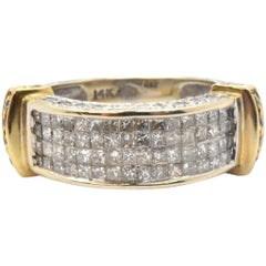 Two-Tone 14 Karat Gold and Invisible Set of Diamond Band Ring 1.28 Carat