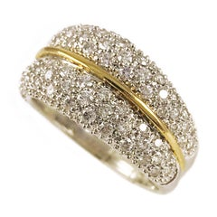 Zweifarbiger 14 Karat Gold, Diamant,Pavé-Ring
