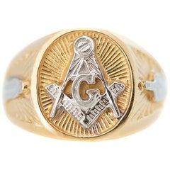 Two-Tone 14 Karat Gold Masonic Ring