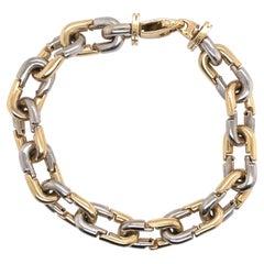 Two-Tone 14 Karat Yellow & White Gold Link Bracelet 27.4 Grams Made in Italy