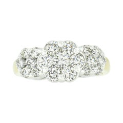 Two Tone 14k Gold 1.35ctw Round Brilliant Diamond 3 Flower Cluster Band Ring