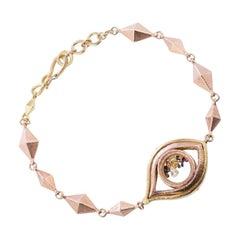Two Tone 18 Karat 14 Karat Handblown Glass Pave Small Monocle Link Bracelet