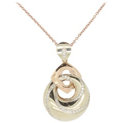 Two-Tone 18 Karat Diamond Swirl Pendant