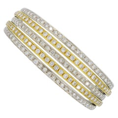 Two-Tone 18 Karat Gold 6 Carat Diamond Bangle Bracelet