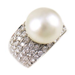 Two-Tone South Sea Button Pearl Diamond Cocktail Ring