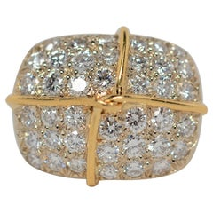 Two Tone 18K Gold Ring with Pavé Set Round Brilliant Cut Diamonds, 2.64 Carats