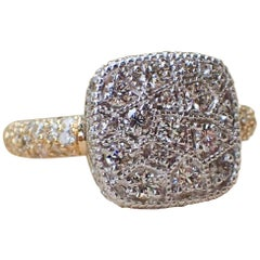 Two-Tone 18k White & Yellow Gold Ring with 1.36 carats of Pavé Set Diamond