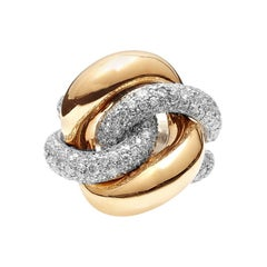 Two-Tone 18kt White and Rose Gold Ring with Diamond Pavé