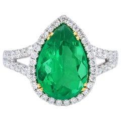 Two-Tone 4.58 Carat Diamond Emerald Ring