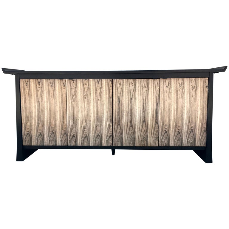 Two-Tone Asian Flair Walnut Sideboard by Bernhardt For Sale