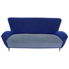 Two-Tone Blue Mohair Paulo Buffa Mid-Century Modern Italian Sculptural Sofa