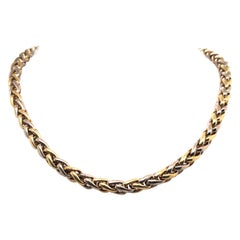 Two-Tone Braided Necklace 14 Karat Gold 37.5 Grams