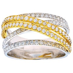 Two-Tone Crossover Diamond Ring