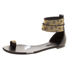 Two Tone Crystal Embellished Ankle Cuff and PVC Vinil Flat Sandals Size 38.5