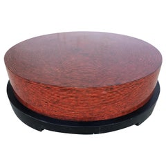 Two-Tone Cubist Style Round Coffee Table