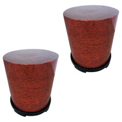 Two-Tone Cubist Style Round Side Table, Pair