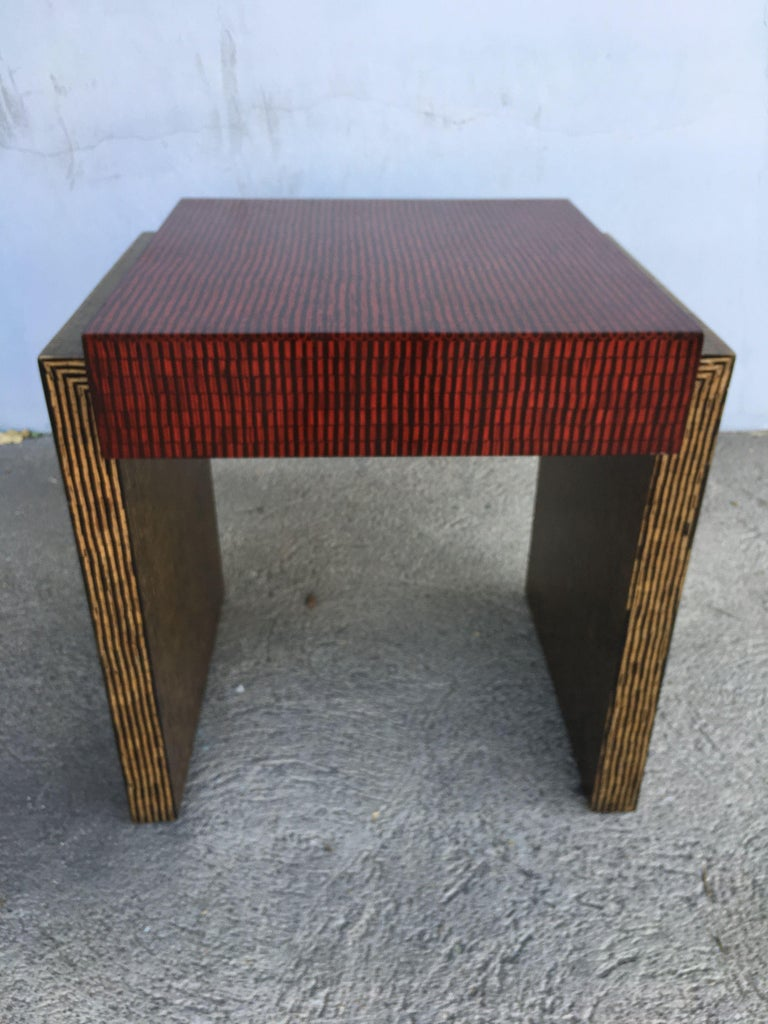 American Two-Tone Cubist Style Side Table, Pair