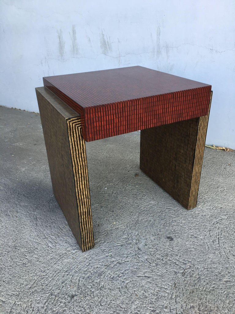 Two-Tone Cubist Style Side Table, Pair In Excellent Condition In Van Nuys, CA