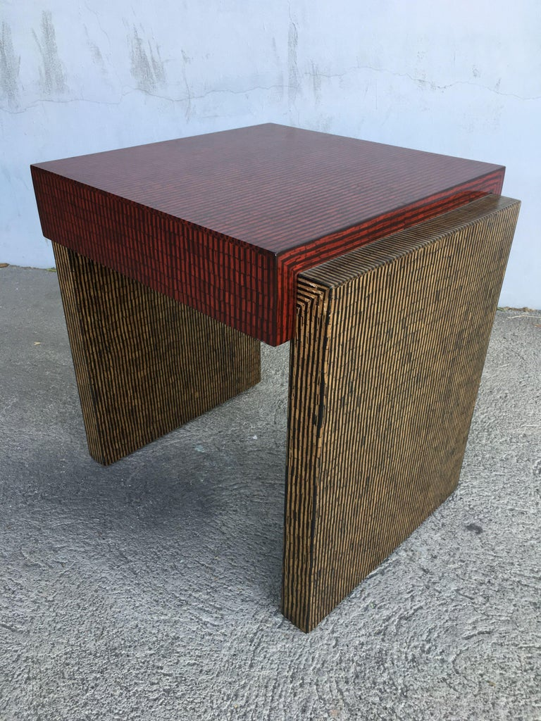Contemporary Two-Tone Cubist Style Side Table, Pair