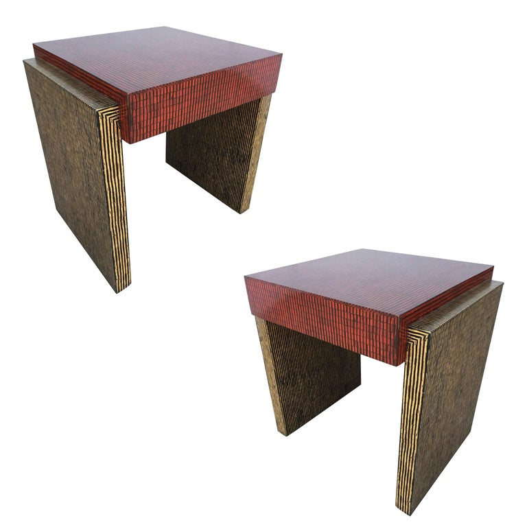 Two-Tone Cubist Style Side Table, Pair