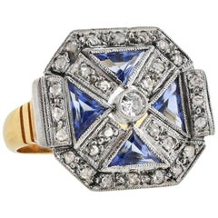 Two-Tone Diamond and Sapphire Ring