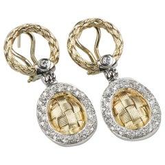 Two-Tone Diamond Basket Weave Drop Earrings in 14 Karat Gold