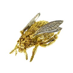 Two-Tone Diamond Bee Fly Brooch