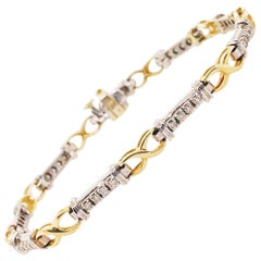 Two-Tone Diamond Bracelet with Alternating White and Yellow Gold Links 1/2 Carat