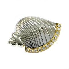 Two-Tone Diamond Conch Shell Brooch/Pin