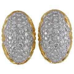Two-Tone Diamond Dome-Shaped Earrings